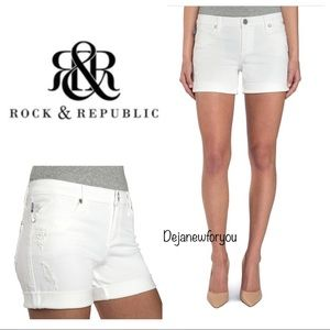 Rock & Republic Distressed Bumpershoot Jean Shorts